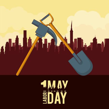 Labor day may eleven card pink and shovel over cityscape vector illustration graphic design