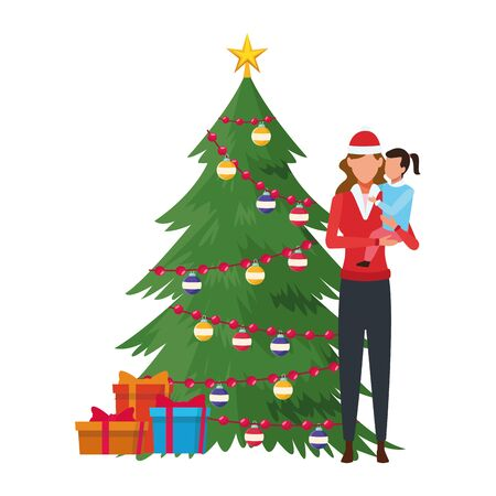 woman and child with christmas tree and gift boxes decorated vector illustration graphic design