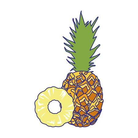 pineapple fruit icon over white background, vector illustration