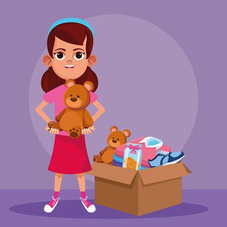 Kid donation and charity with toys in box vector illustration graphic design