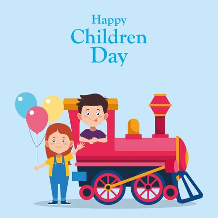 Happy children day colorful design with happy boy in a train and girl with colorful balloons over blue background, vector illustration Çizim