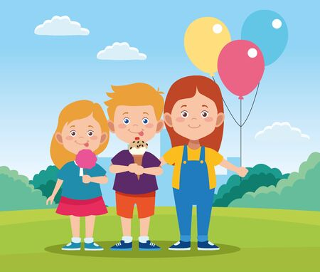 happy children day design with cartoon happy kids and colorful balloons over field background, vector illustration