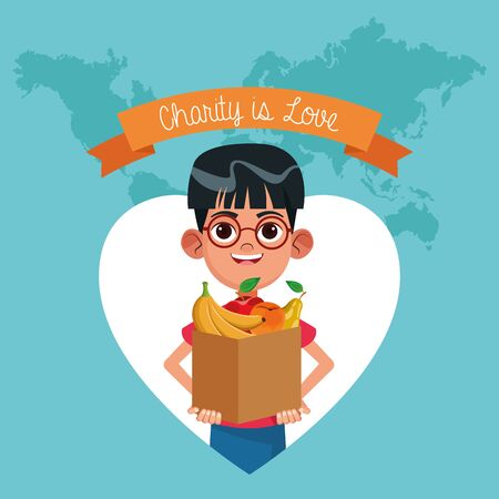 Charity is love ribbon banner world map background with cartoon vector illustration graphic design 일러스트