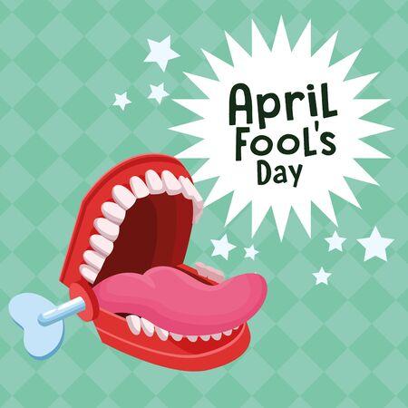 April fools day teeth joke box cartoons vector illustration graphic design