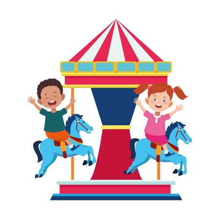 happy kids in a horse carousel icon over white background, vector illustration