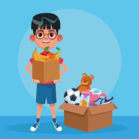 Kid donation charity boy holding box with food and toys cartoon vector illustration graphic design