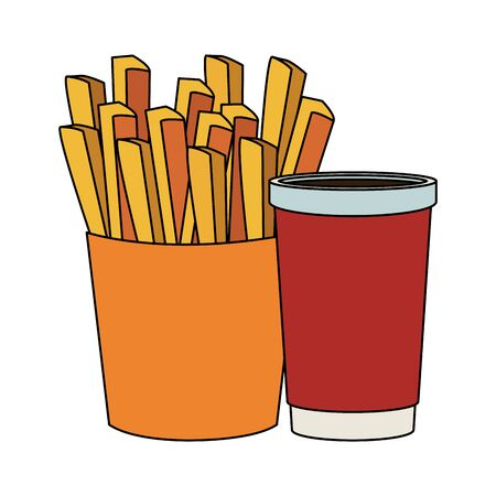 french fries and drink cup over white background, vector illustration