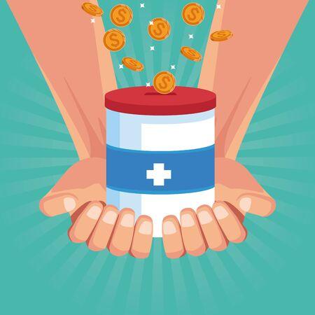 Hands with coins bottle cartoon blue background vector illustration graphic design Çizim