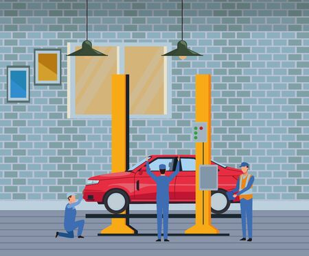 car service manufacturing workers assembling cartoon vector illustration graphic design Ilustrace
