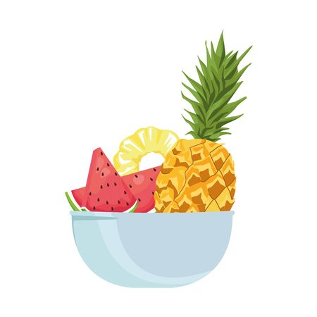 bowl with pineapple and healthy fruits over white background, vector illustration