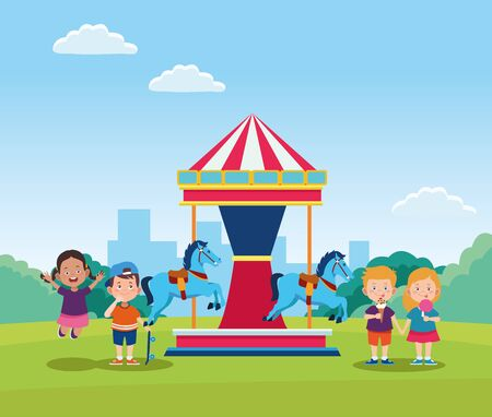 happy children day design with horse carousel with cartoon happy kids over field background, vector illustration Çizim