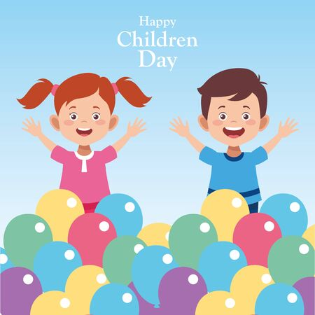Happy children day design with happy kids around colorful balloons over blue background, vector illustration