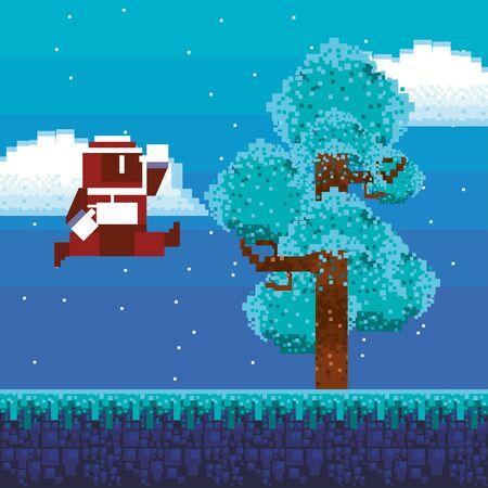 video game warrior in pixelated scene vector illustration design