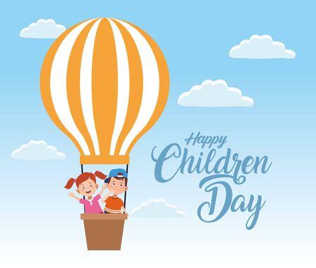 happy children day celebration with kids flying vector illustration design Çizim