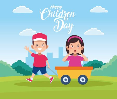 happy children day celebration with kids playing in pushcart vector illustration design Çizim