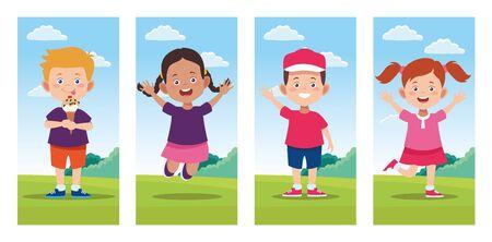 bundle of happy children day celebration scenes vector illustration design