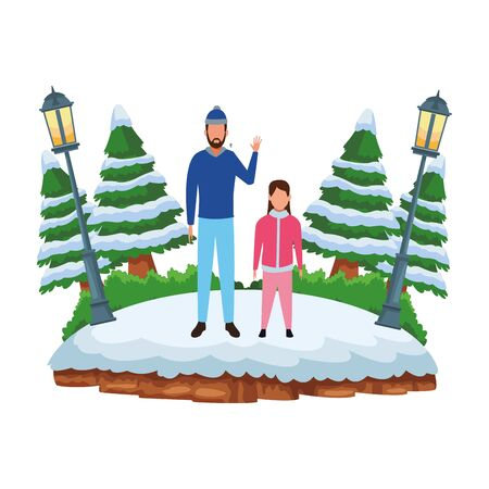 man with child avatars wearing winter clothes and knitted cap at snowing park vector illustration graphic design