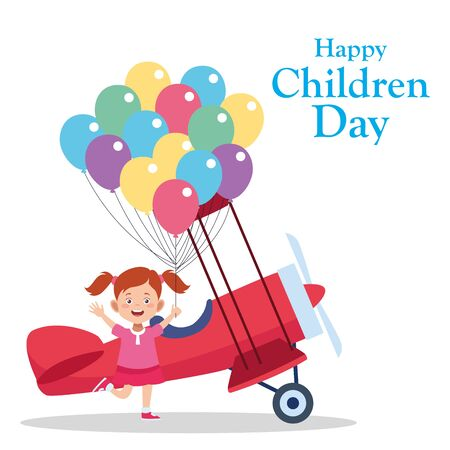 Happy children day design with happy girl and light aircraft over white background, vector illustration Çizim