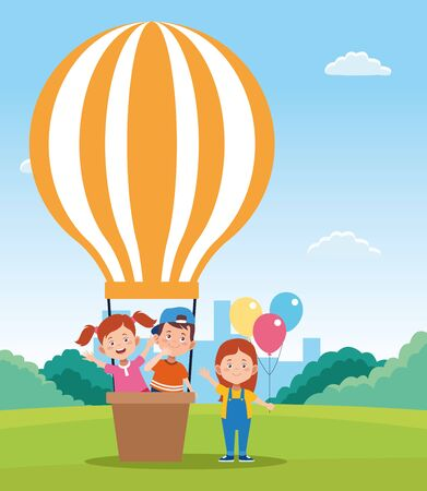 happy children day design with hot air balloons and cartoon happy kids over field background, vector illustration Çizim