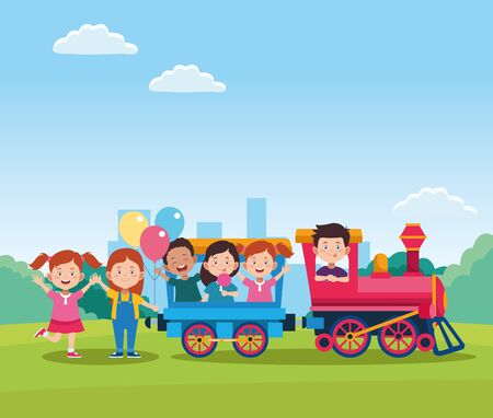 happy children day design with train with cartoon happy kids in the wagons over field background, vector illustration
