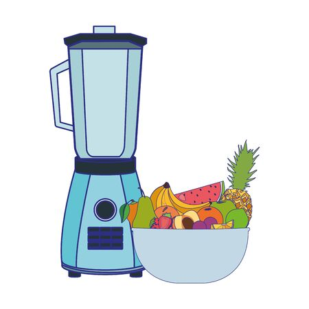 blender and bowl with fruits over white background, vector illustration