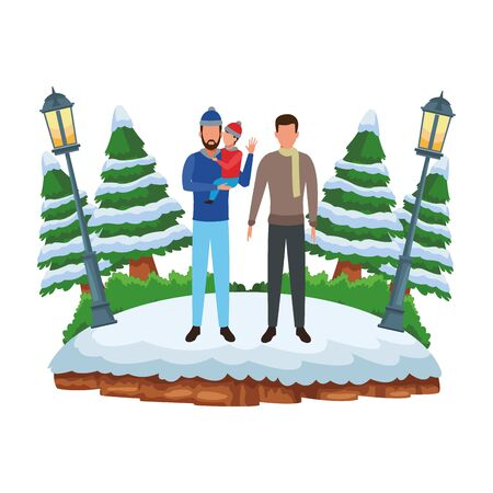 men and child avatar wearing winter clothes with scarf and knitted cap at snowing park vector illustration graphic design