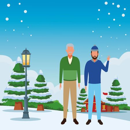 men wearing winter clothes avatar with beard and knitted cap snowing town lanscape vector illustration graphic design