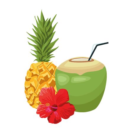 pineapple and coconut drink with tropical flower over white background, vector illustration