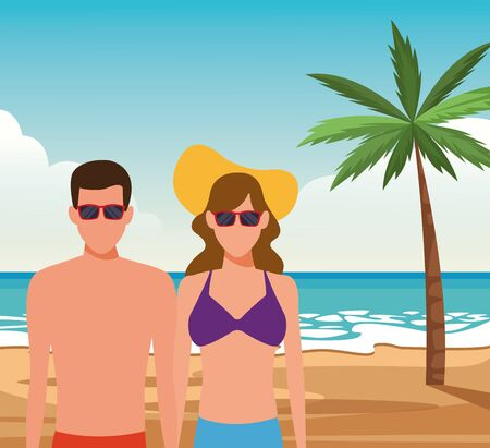 avatar couple with sunglasses at the beach, colorful design. vector illustration Stock Illustratie