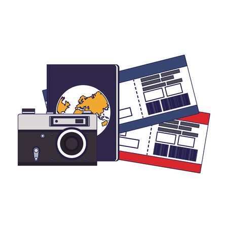 camera with passport and flight passboards over white background, vector illustration