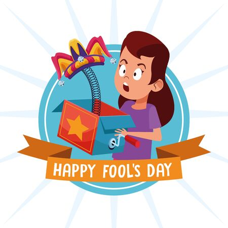 April fools day girl with surprise box cartoons vector illustration graphic design Illusztráció
