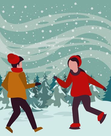 christmas snowscape scene with kids skating vector illustration design