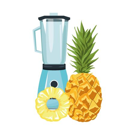 pineapple and blender icon over white background, vector illustration