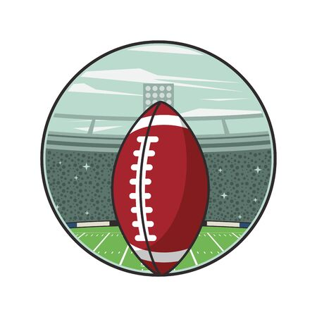 american football sport balloon in stadium vector illustration design