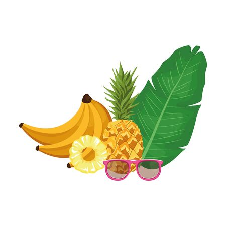 tropical leaf with pineaaple and fruits over white background, vector illustration