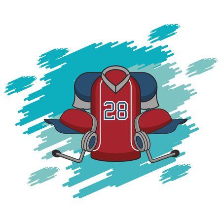 american football sport uniform shirt and communicator vector illustration design