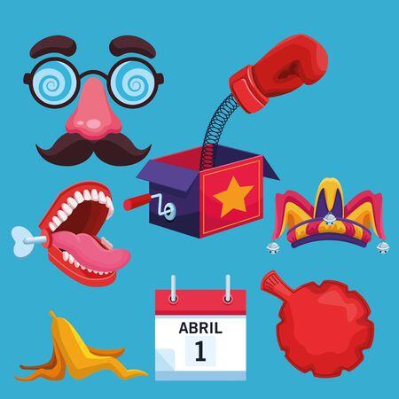 Pesce d'aprile raccolta di scherzi cartoni animati illustrazione vettoriale graphic design Vettoriali