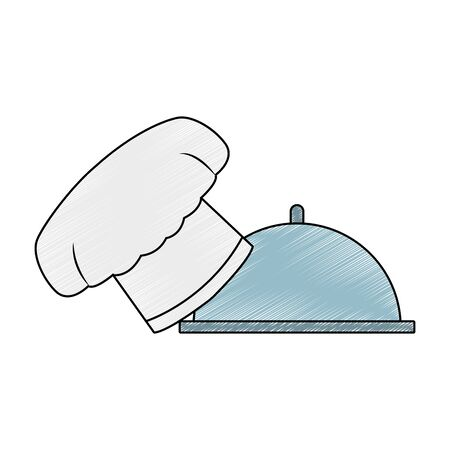 Chef hat and dish dome vector illustration graphic design