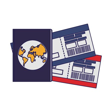 passport and flight passboards over white background, vector illustration Иллюстрация