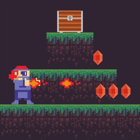 video game warrior shooting weapon in pixelated scene vector illustration design