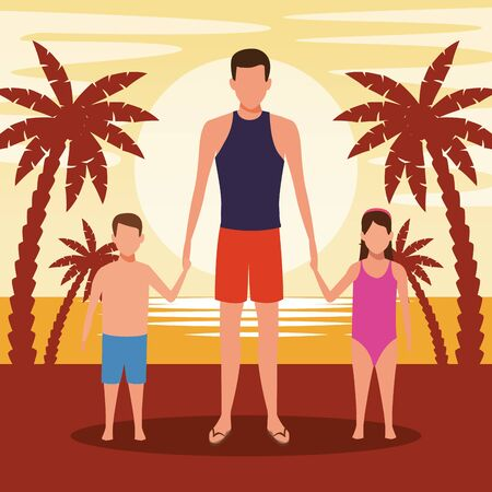 avatar man and kids at the beach in the sunset,colorful design. vector illustration
