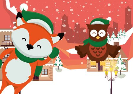 christmas snowscape scene with fox and owl vector illustration design Stock Illustratie