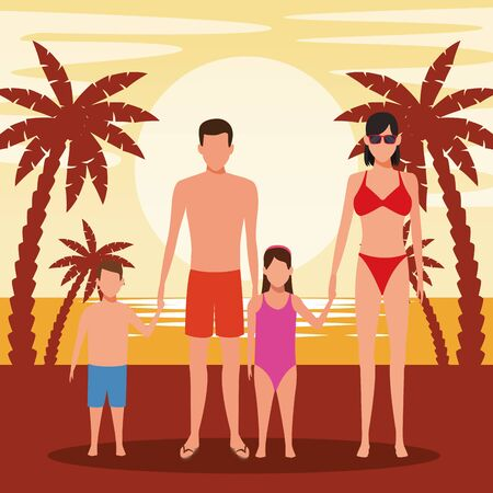 avatar family with kids wearing swimsuits at the beach, colorful design. vector illustration Foto de archivo - 134640566