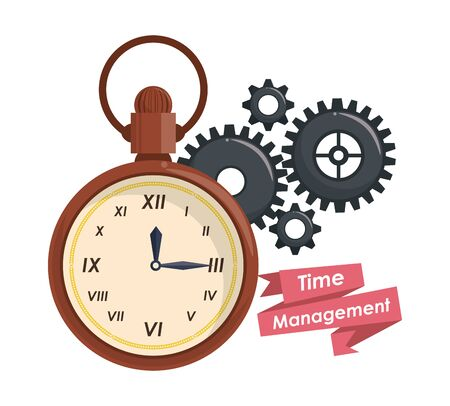 Time management concept and cartoons with ribbon banner vector illustration graphic design