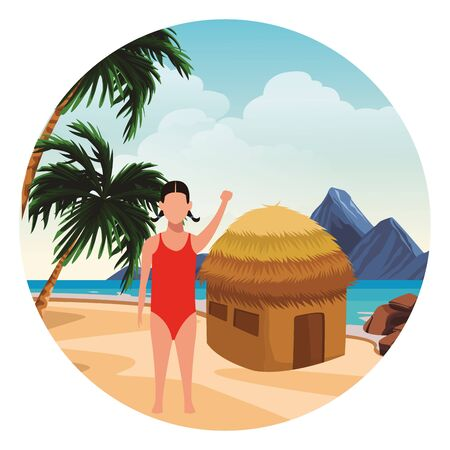 summer vacation woman girl at beach cartoon vector illustration graphic design Foto de archivo - 134640569