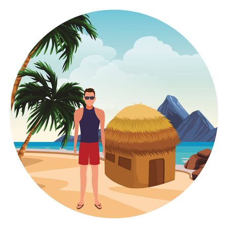 summer vacation man at beach cartoon vector illustration graphic design Foto de archivo - 134640574