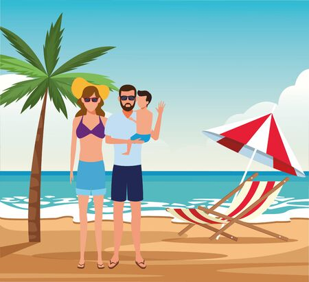 avatar couple with sunglasses and little boy at the beach, colorful design. vector illustration Stock Illustratie