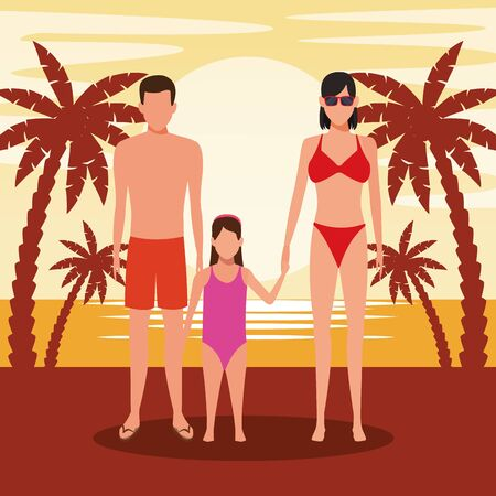 avatar young couple and girl wearing swimsuit, colorful design. vector illustration Foto de archivo - 134640571