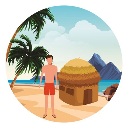 summer vacation man at beach cartoon vector illustration graphic design Foto de archivo - 134640573