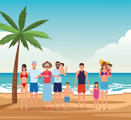 avatar family with kids and grandparents enjoying the summer vacations at the beach, colorful design. vector illustration